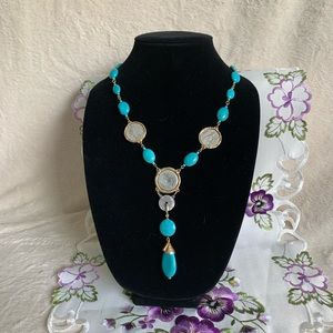 Chico's Long Gold Turquoise Coin Necklace